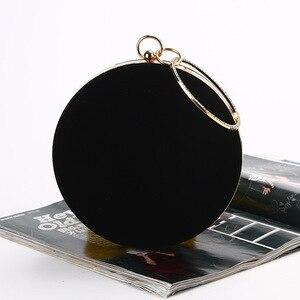 Image 2 - CICICUFF 2020 New Handmade Round Circular Shape Evening Clutch Bag Women Soft Velvet Chain Shoulder Messenger Bags Classic Black