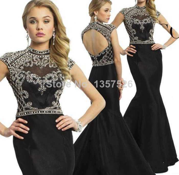 2017 New Formal Evening Dresses High Neck Appliques Beads Backless ...
