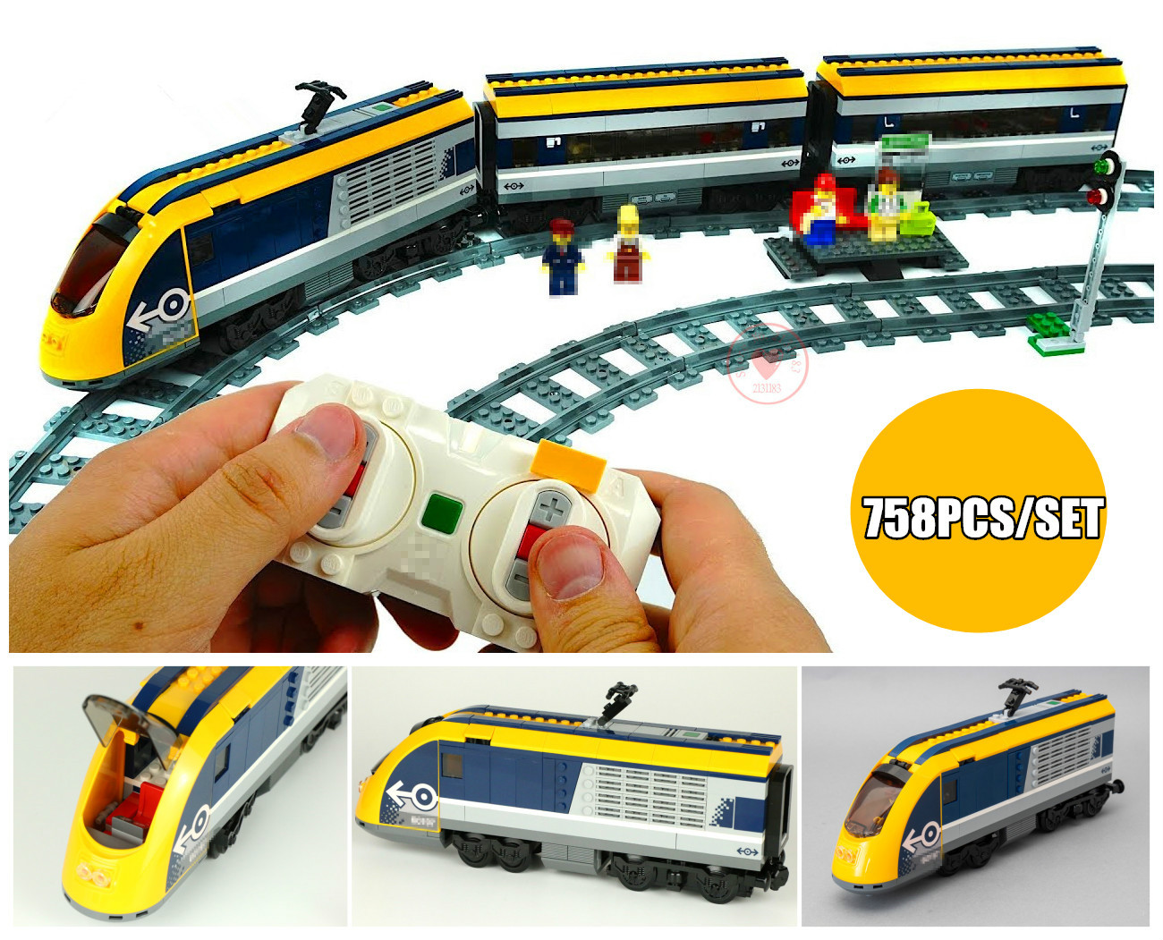 цена на New City RC car Passenger Train station Sets fit legoings technic city figures Model Building Blocks Bricks Toy Gift 60197 kid