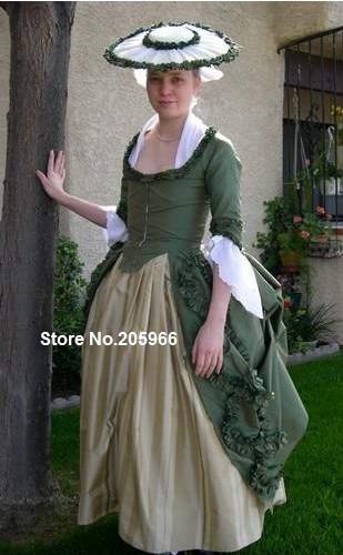 Custom Made 1770 Polonaise Green Taffeta Victorian Bustle Day Dress Tea Party Event