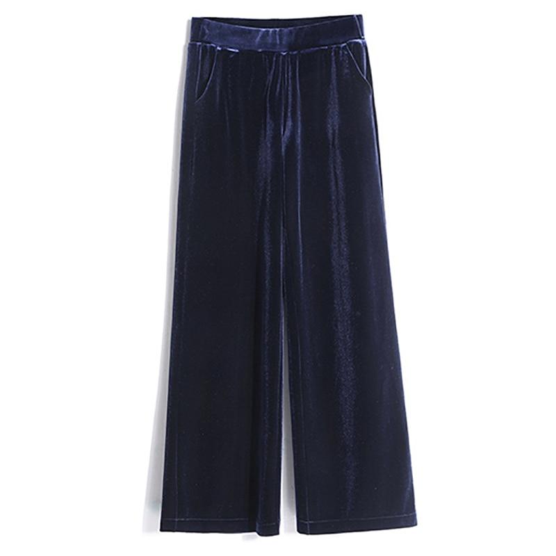 2018 herbst Winter Breite Bein Hosen Frauen 3XL Plus Größe Samt Hose Hohe Taille Elastische Beiläufige Lose Lange Hosen Femme schwarz Blau