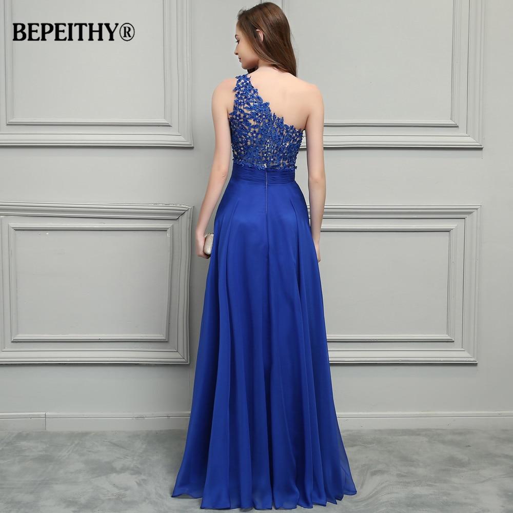 BEPEITHY Royal bleu mousseline De soie longues robes De bal 2019 une épaule dentelle Vintage robe De soirée Vestidos De Festa - 2