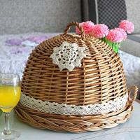 Pizza dishes wickerwork plates willow crafts kitchen storage box vegetable basket yellow dishes fruit tray