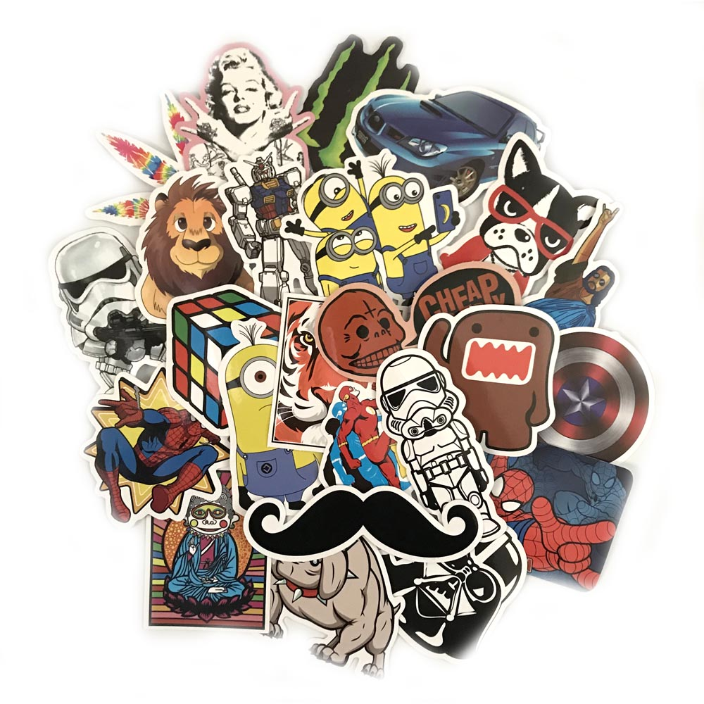 50-100PCS Mix Funny Waterproof Stickers for Laptop Skateboard Luggage Car Styling Bike JDM Doodle Decals Home Decor Cool Sticker