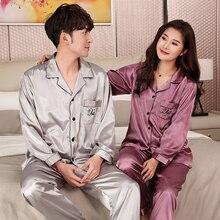 Couple Pajamas Autumn Long sleeve Silk Pajamas Men Women Match Sleepwear Pajama Set Ladies silk Pajama men autumn summer men s silk pajamas thin short sleeves sleepwear luxury pajama set loungewear l xl xxl xxxl