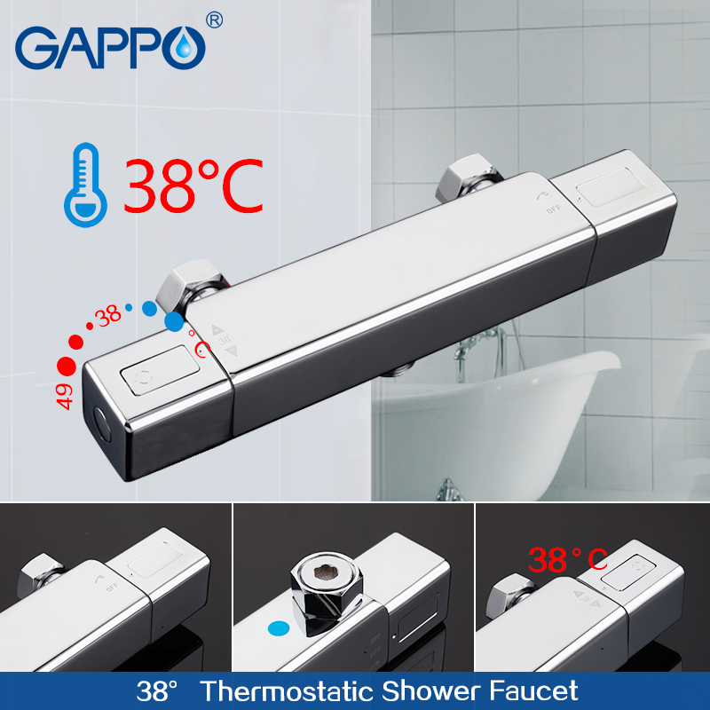 GAPPO shower faucet thermostatic water mixer Square bath tap mixer rainfall shower set brass shower mixer tap dofaso all cooper 20cm square rain shower thermostatic shower mixer set rainfall bath tap thermostatic shower faucet