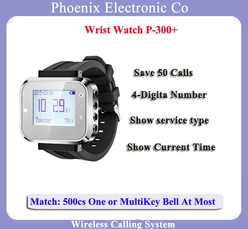 New Arrival,Wrish Pager watch for watch calling system,Wireless calling system wireless pager system 433 92mhz wireless restaurant table buzzer with monitor and watch receiver 3 display 42 call button