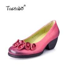 Tastabo цветок натуральная кожа женские туфли-лодочки каблуки обувь на танкетке для женщин Женский китайский бренд Мягкие осенние ручной работы офиса Обувь