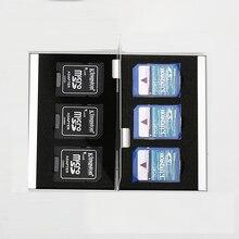 6 en 1 De Aluminio Bolsa Caja de Almacenamiento Caja de la Tarjeta Titular de La Cartera de Gran Capacidad de Memoria Para 6 * Tarjeta SD