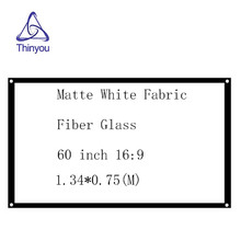 Thinyou Simple curtain Matte White Fabric Fiber Glass 60 inch 16:9 HD Projector Screen Wall Mountable For Home Office
