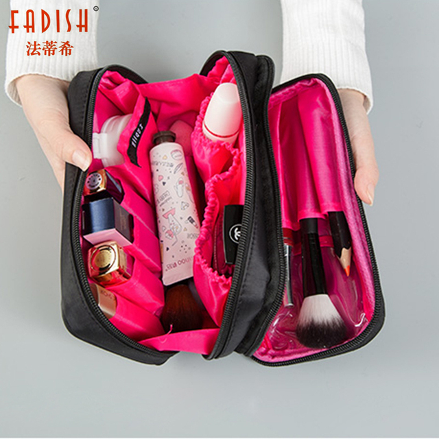 e004de03cff6 Fadish Cosmetic Bags Makeup Bag Women Travel Organizer Professional Storage  Brush Necessaries Make Up Case Beauty Toiletry Bag