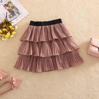 NiceMix 2019 printemps automne jupes nouveau doux frais solide couleur cascade volants maille taille haute plissée mini gâteau femmes jupes