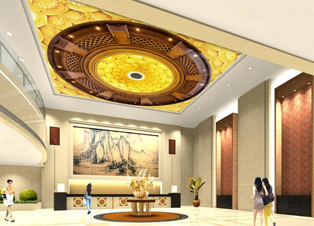 High end 3D golden flowers zenith ceiling Home Decoration cloud ...