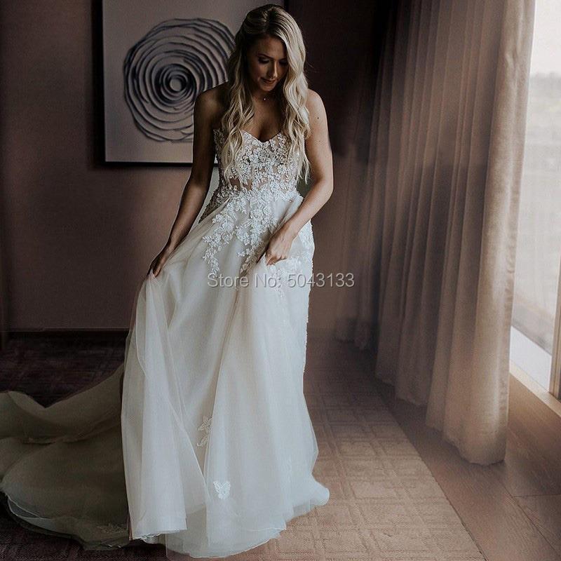 Sweetheart A Line Wedding Dresses Beaded Lace Applique Bridal Gowns Sleeveless Chapel Train Wedding Dress White vestidos Noiva