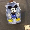 Children's denim waistcoat spring and summer new Korean fashion boys and girls cartoon cute denim vest jacket mickey