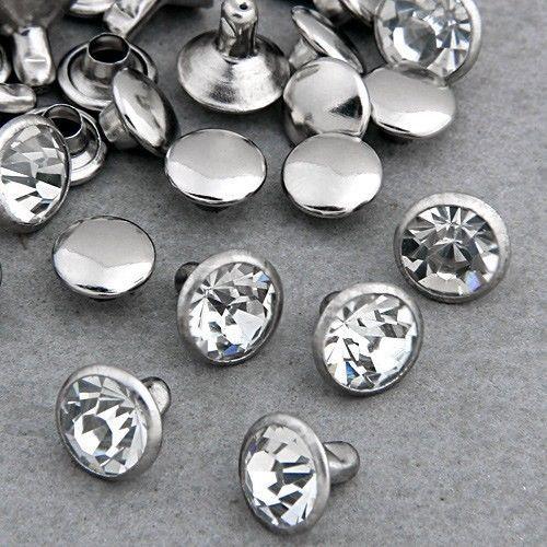 100 Sets 5mm Rhinestone CZ Cristales Remaches Rapid Silver Nailhead Spots Studs Envío de DIY libre