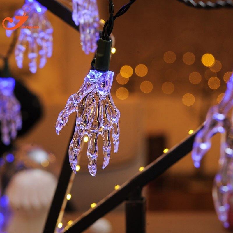 New 2017 string light outdoor bulb curtain Halloween Skeleton Hands Party 10 Light Skull LED Fairy Lighting Christmas Decoration