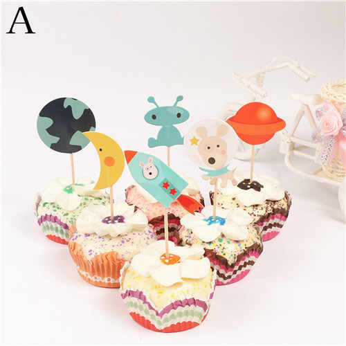 Superb 24Pcs Rocket Ship Dog Cosmic Planet Stars Alien Robot Cupcake Funny Birthday Cards Online Overcheapnameinfo