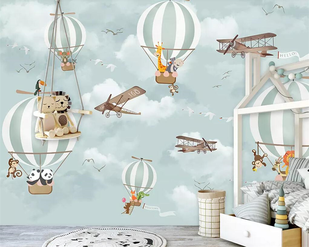 Beibehang Mural Wallpaper Cartoon Hot Air Balloon Boy Girl