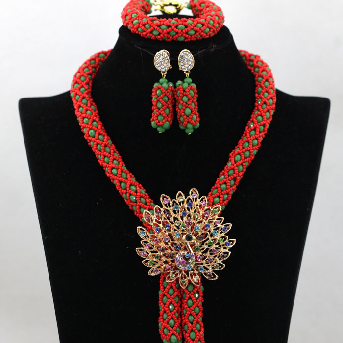 Fashion Orange Red African Bridal Pendant Necklace Set Nigerian Green Wedding Anniversiary Beads Jewelry Set Free Shipping QW287