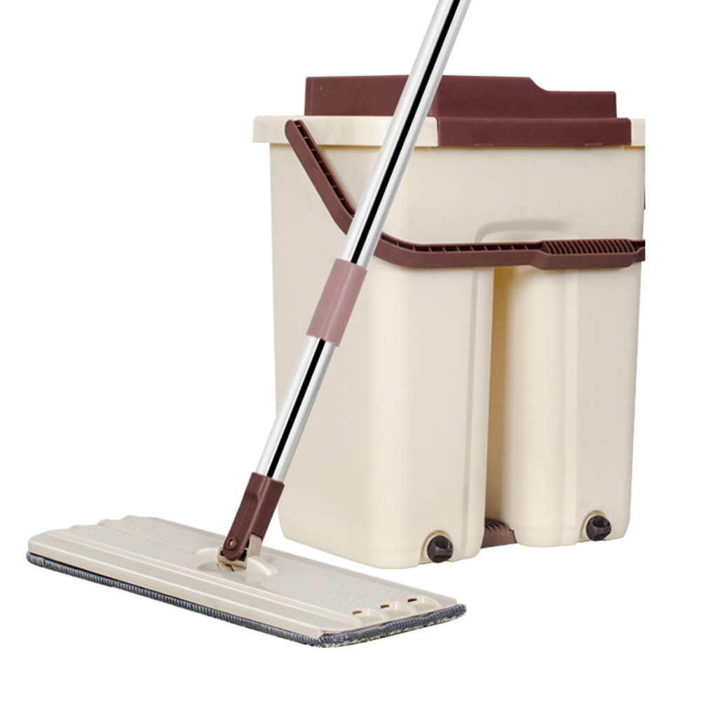 2019 New Large Automatic Dehydration Free Hand Wash Lazy Mop Bucket Flat Mop Home Self care Reinforcement Rod Rotating Mop-in Mops from Home & Garden    3