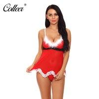 COLLEER Christmas Sexy Women Lingerie Bandage Underwear Halter Women Fancy Dress Costume Outfit Sets Sleepwear Bra
