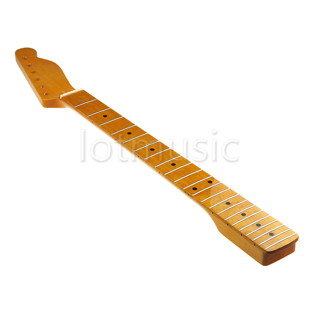 Neck Guitar 22 Frets Fret Maple Fingerboard For Electric Guitar Maple Neck Replacement Parts Black Dot Light Yellow Finish цена
