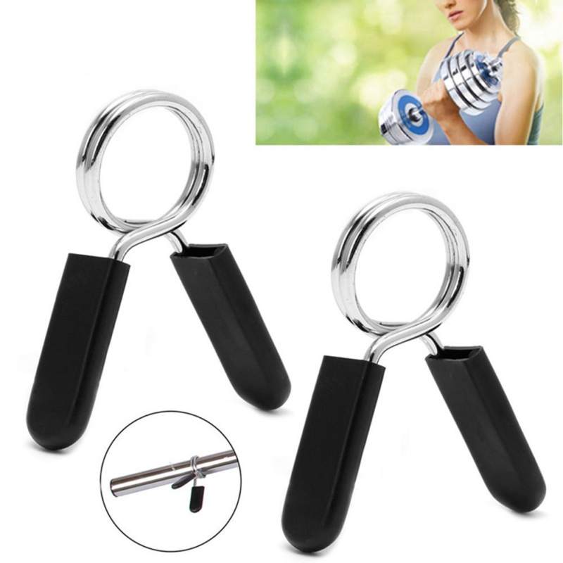 Galleria fotografica 1Pair 25/28/30/50mm Gym Weight Bar Dumbbell Lock Standard Barbell Spring Collar Clamp Clips Weight Lifting Training Accessories