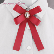 Newest Fashion Fabric Bow Brooches For Women Neck Tie Pins Party Wedding  Large Ribbon Brooch Jewelry Clothing Accessories Gifts 58bf3f435fc6