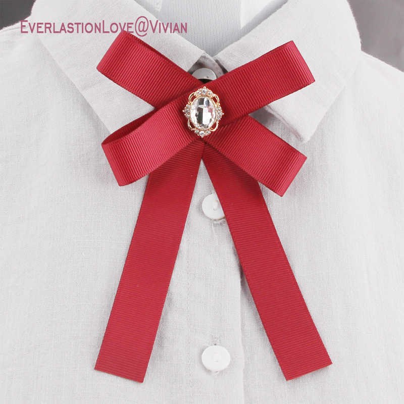 d22246e39f1 Newest Fashion Fabric Bow Brooches For Women Neck Tie Pins Party Wedding  Large Ribbon Brooch Jewelry