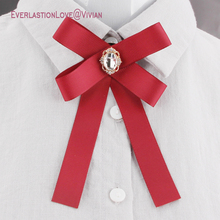 Newest Fashion Fabric Bow Brooches For Women Neck Tie Pins Party Wedding Large Ribbon Brooch Jewelry Clothing Accessories Gifts