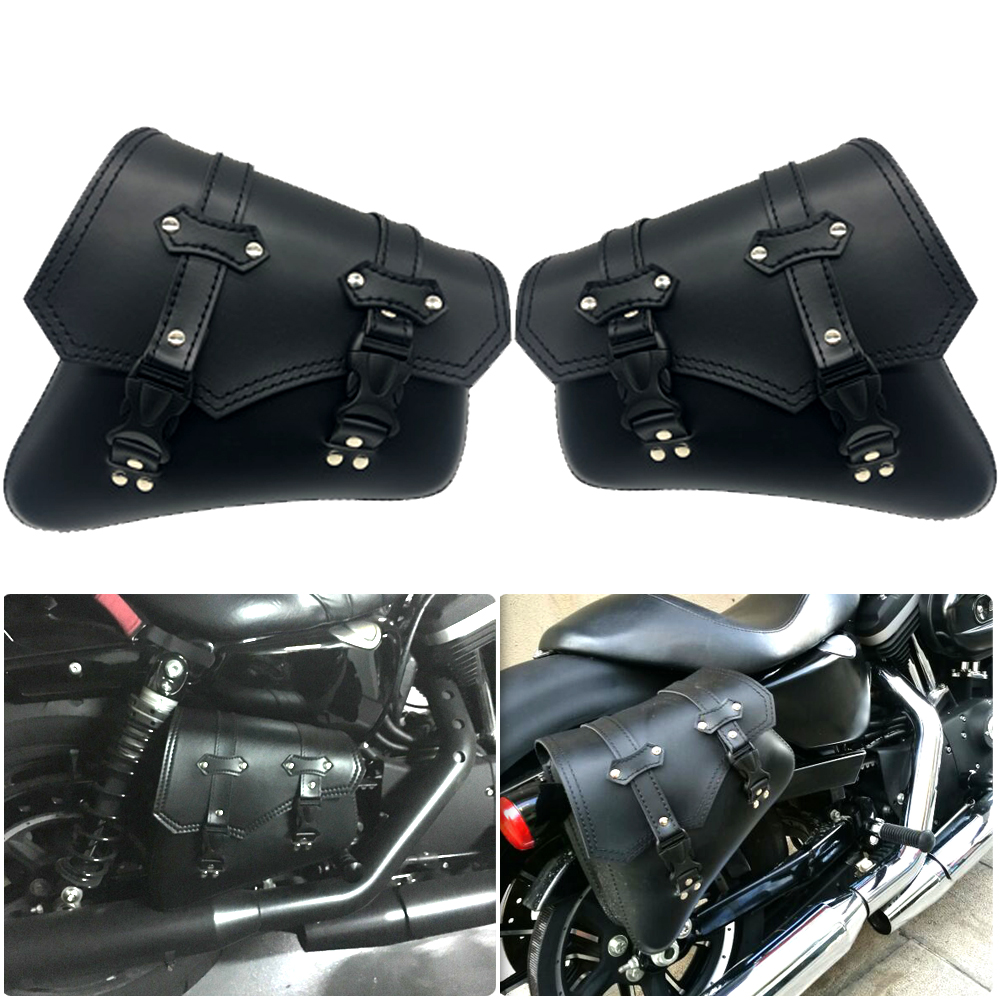 883 Motorcycle Saddle Bag Black Motorcycle Brown Side Storage Bag Harry Sportster XL883 Big Triangle Bag Black Buckle in Covers Ornamental Mouldings from Automobiles Motorcycles