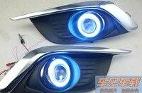 Высокое качество светодиодными фарами дневного света, COB angel eye, объектив проектора, E13 отмечены для chevrolet aveo sonic 2014-2016, 2 шт.