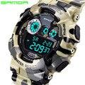 Sanda Choque Relojes Hombres de Lujo de Cuarzo Analógico Digital Reloj de Los Hombres Estilo Militar Impermeable de Los Deportes LED Relojes de Moda