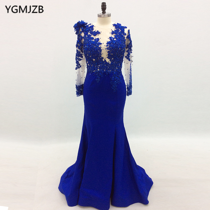 Long Sleeve   Evening     Dresses   2018 Mermaid Beaded Crystal Lace Royal Blue Women Formal Prom   Evening   Gown Prom   Dress   Robe De Soiree
