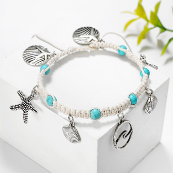 Fashion Bohemia Natural Stone Woven Bracelet Starfish Shell Pendants Anklet For Women Girl Jewelry Accessories Wholesale 4