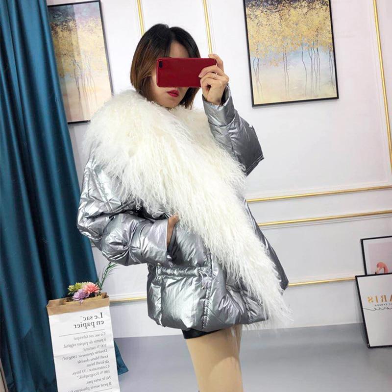 Real Mongolia Sheep Fur Collar 2019 Women's White Duck Down Jacket Thick Warm Winter Coat Women High Quality Female Down Parka