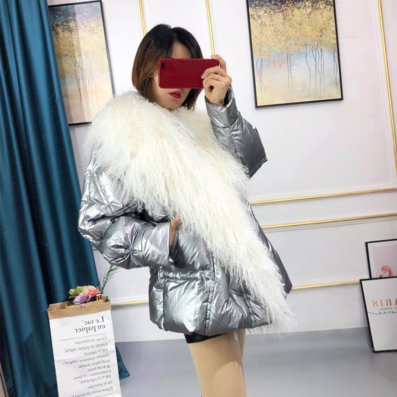 Real Mongolia Sheep Fur Collar 2019 Women's White Duck   Down   Jacket Thick Warm Winter   Coat   Women High Quality Female   Down   Parka