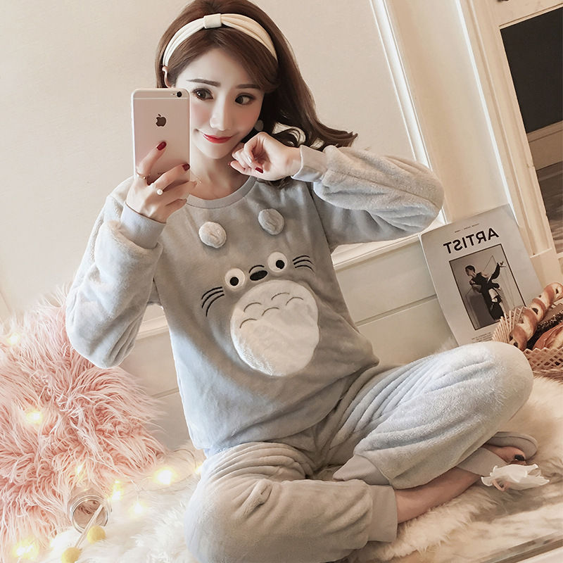 High Quality Women Pajama Sets Winter Soft Thicken Cute Cartoon Flannel Sleepwear 2 pcs/Set Tops + Warm Pants Home Clothes Mujer 99