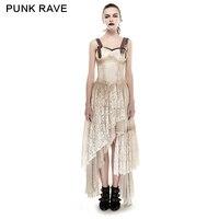 Панк рейв стимпанк женские Асимметричные подол кружева соответствующие Do старый платье длинные тонкое ремень платья Летняя одежда с откры