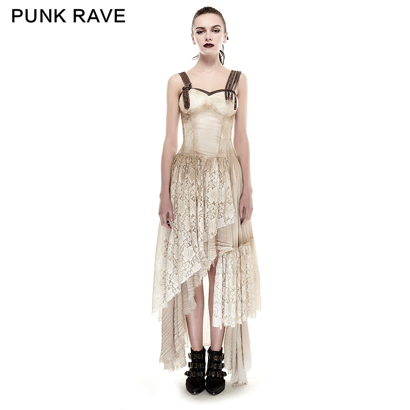 PUNK RAVE Steampunk femmes asymétrique ourlet dentelle correspondant faire vieille robe longue Condole ceinture robes été épaule dénudée vêtements