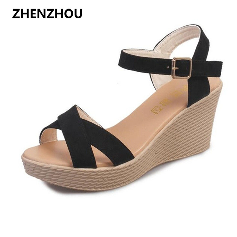 Women's shoes 2017 brand OL summer slope with sandals high platform thick bottom with fish mouth ladies sandals large size 35-40 slope with super high heels 14cm platform shoes sandals and slippers spring and summer fish head thick crust waterproof shoes