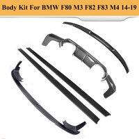 Наборы кузова автомобильный бампер для губ Диффузор спойлер сторона юбки для BMW F80 M3 F82 F83 M4 14 19 Стандартный трансформер углеродного волокна