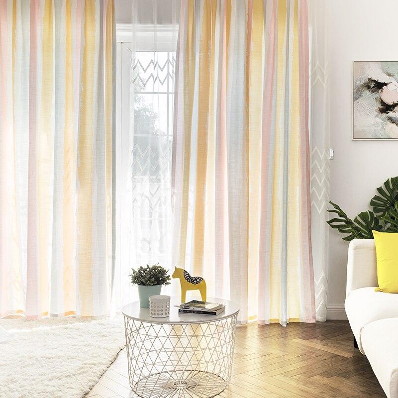Custom vorhänge moderne Einfache Nordic druck bunte Gerade streifen wohnzimmer schlafzimmer fenster tuch blackout vorhang M385