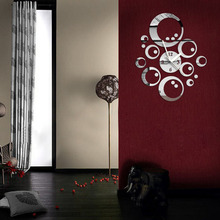 2018 New Arrival Modern 3D DIY Sticker Home Room Decor Ring Circle Mirror Wall Clock    FG