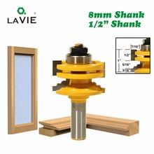 """לביא 1pc 8mm 12mm 1/2 """"שוק זכוכית דלת רכבת & Stile הפיך נתב קצת עיבוד עץ חיתוך לעץ כלי Bits 02014"""