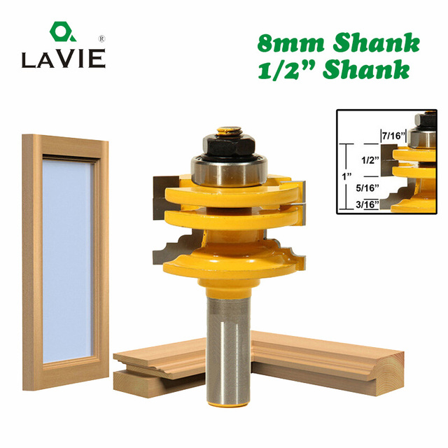 """LAVIE 1pc 8mm 12mm 1/2"""" Shank Glass Door Rail & Stile Reversible Router Bit Woodworking Milling Cutting for Wood Tool Bits 02014"""