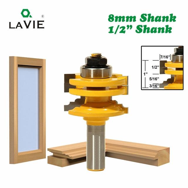 "Lavie 1 Pc 8 Mm 12 Mm 1/2 ""Shank Glas Deur Rail & Stile Omkeerbare Router Bit Houtbewerking Frezen snijden Voor Hout Tool Bits 02014"