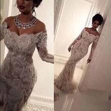 mermaid Luxury Lace Appliques Bling Bridal Gowns Elegant Feathers wedding dress 2016 robe de mariage