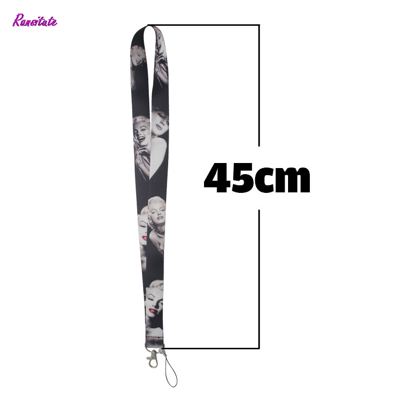 Ransitute Marilyn Monroe Silicone Neck Lanyards For Key Glasses Card Holder Bead Keychain Phones Cameras Webbing